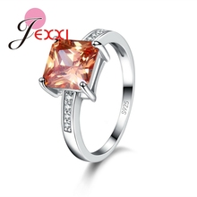 JEXXI Luxurious Champagne Big Square Cut Crystal Jewelry Wedding Engagement Accessories 925 Sterling Silver Women Rings