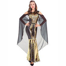 Luxury Gold & Black Arabian Pirincess Dress Ancient Egyptian Cleopatra Costume Sexy Greek Goddess Halloween Costumes For Women(China)
