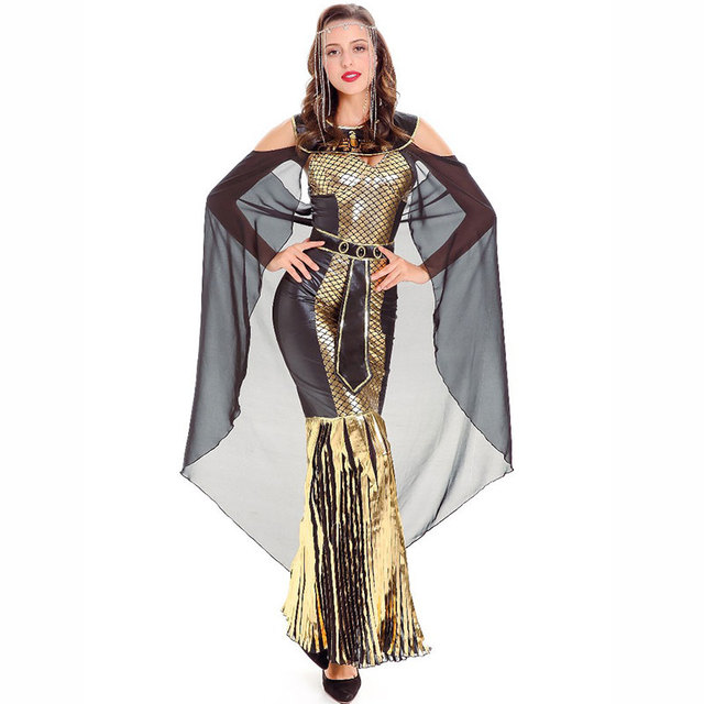 d5b538c46 Luxury Gold   Black Arabian Pirincess Dress Ancient Egyptian Cleopatra  Costume Sexy Greek Goddess Halloween Costumes For Women