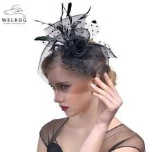 Hat Fascinators Fedora-Cap Sinamay Linen Wedding-Wave-Dot Party Cocktail Elegant Women