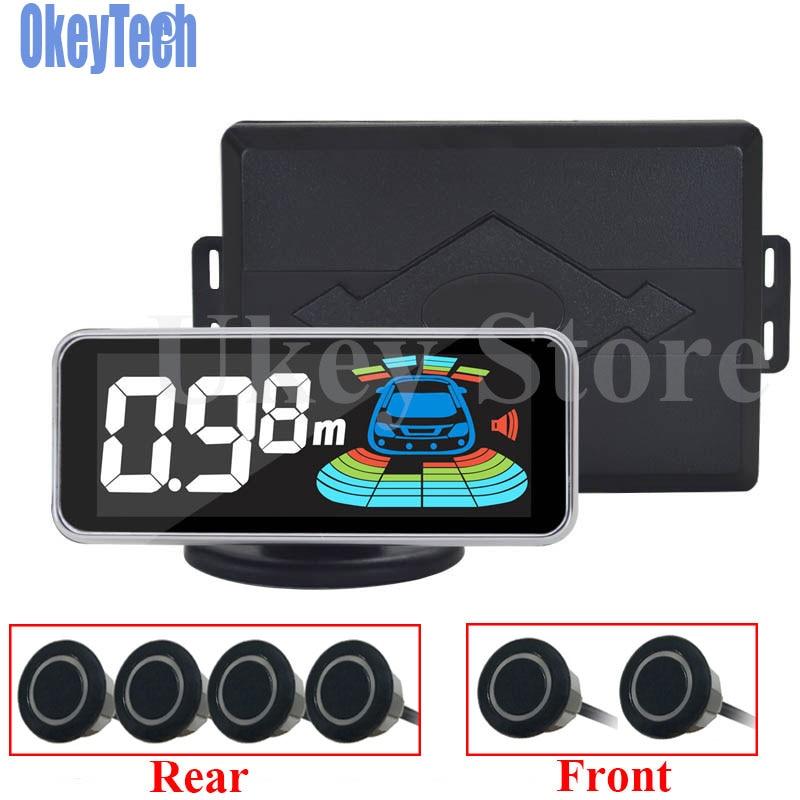Okeytech парктроник Сенсор 6 Сенсор Реверсивный Антирадары светодиод Цифровой автомобиль Парковочные системы сигнализации Системы для всех автомобилей