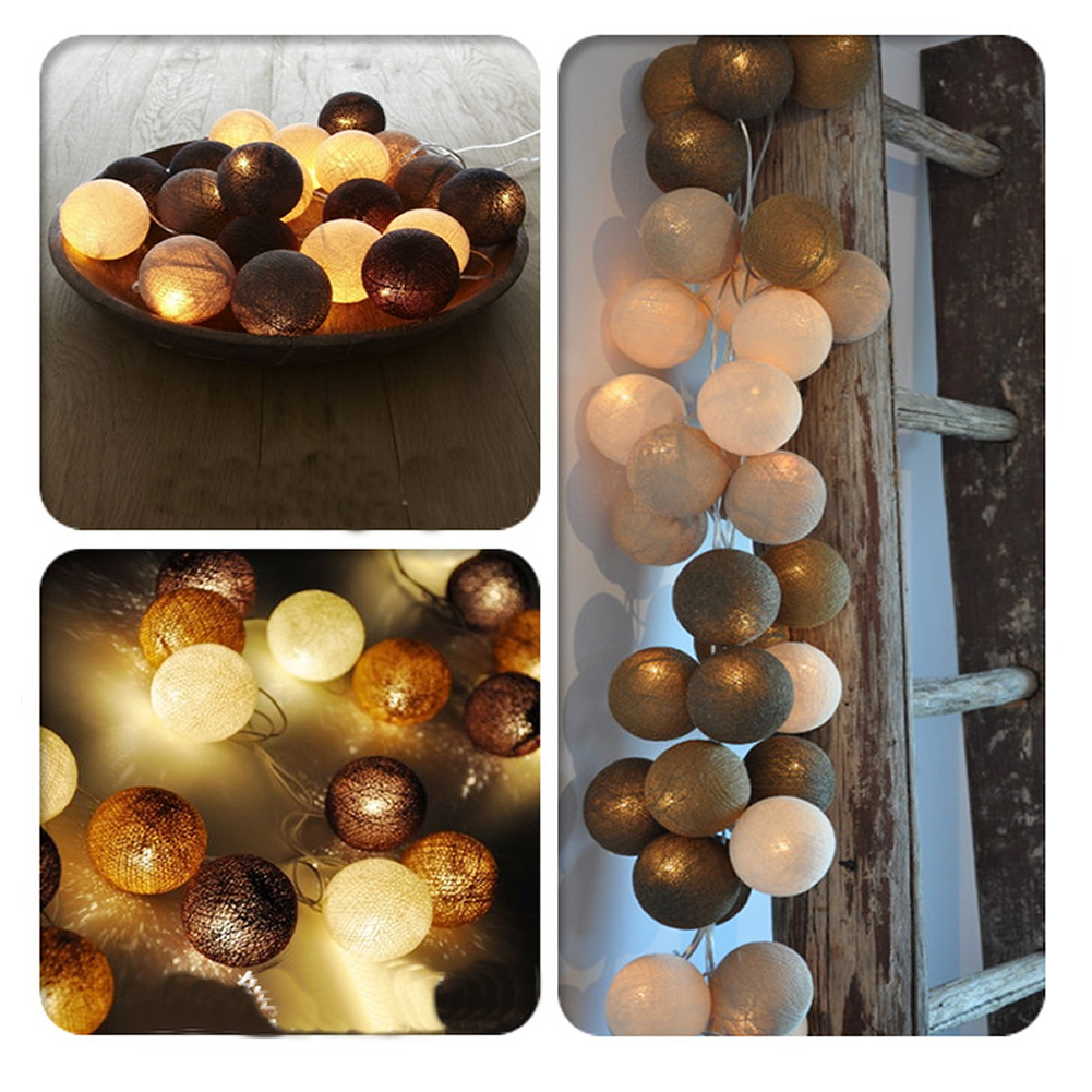 Aladin Romantic Gorgeous 4.5M 35 Coffee Creative Handmade Cotton BALL String Light For Xmas Feast Banquet