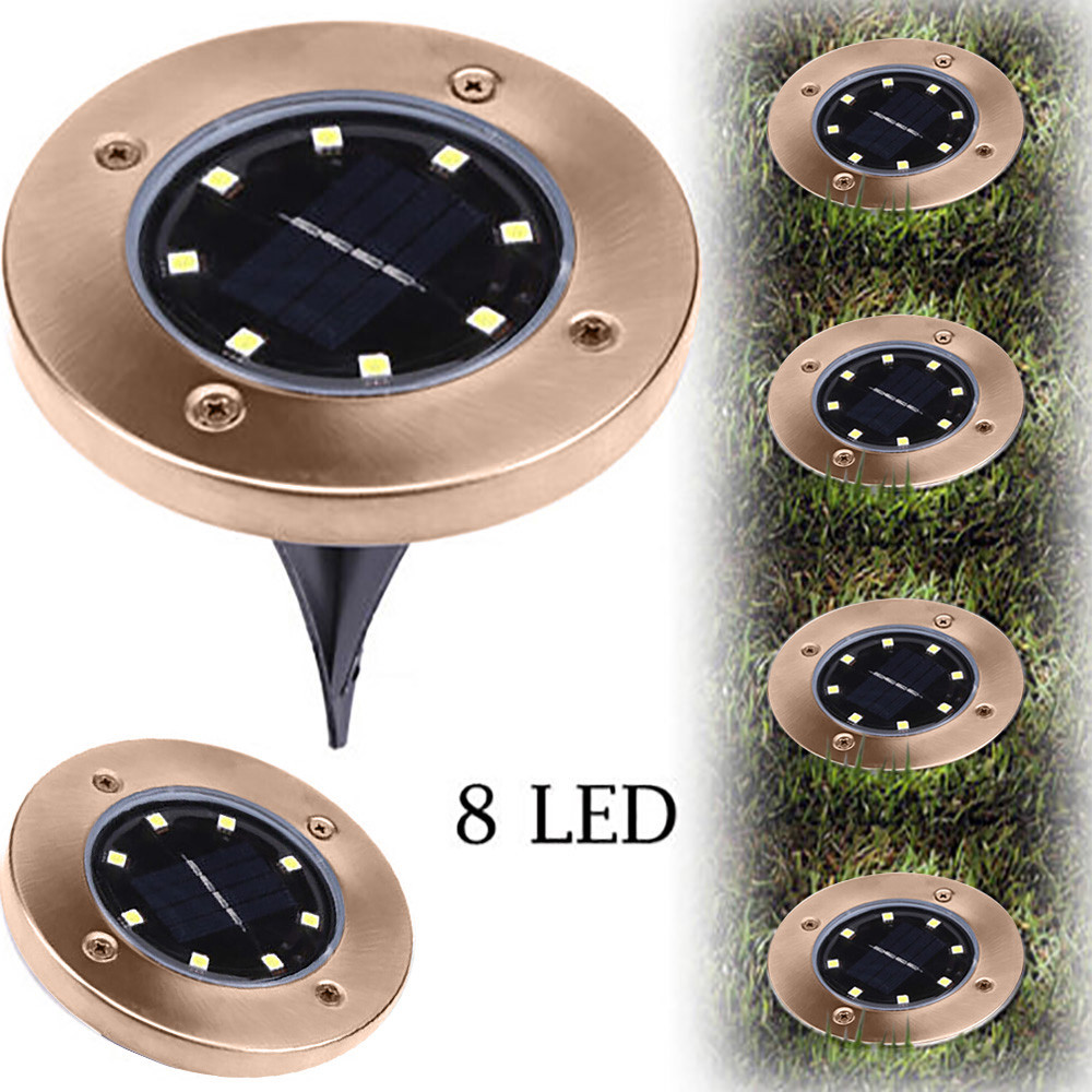 8LED Solar Light UNIBROTHER Home Garden Solar Light Under Ground Buried Lamp Outdoor Path Way Garden Decking Yard Lawn Lamps