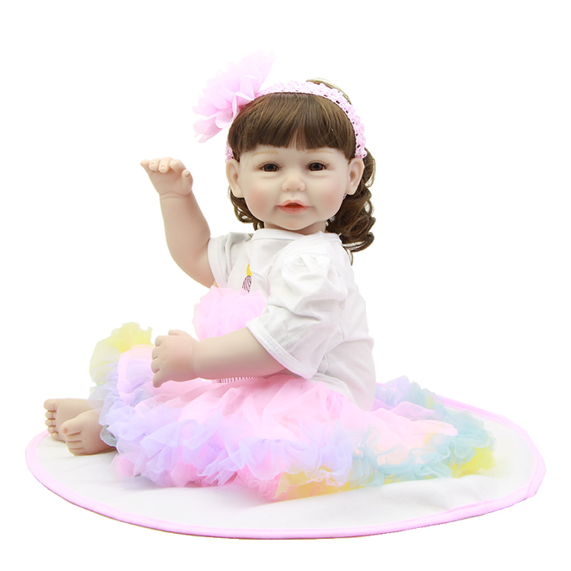 20 Inch 50 cm Reborn Baby Dolls Realistic Silicone Vinyl Newborn Princess Girl Babies With Fashion Dress Kids Birthday Xmas Gift
