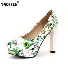 Taoffen/Размеры 33-43 женские туфли на высоком каблуке женщин принтом туфли на каблуке и платформе Туфли-лодочки круглый носок Клубная Дамская Свадебная женская обувь