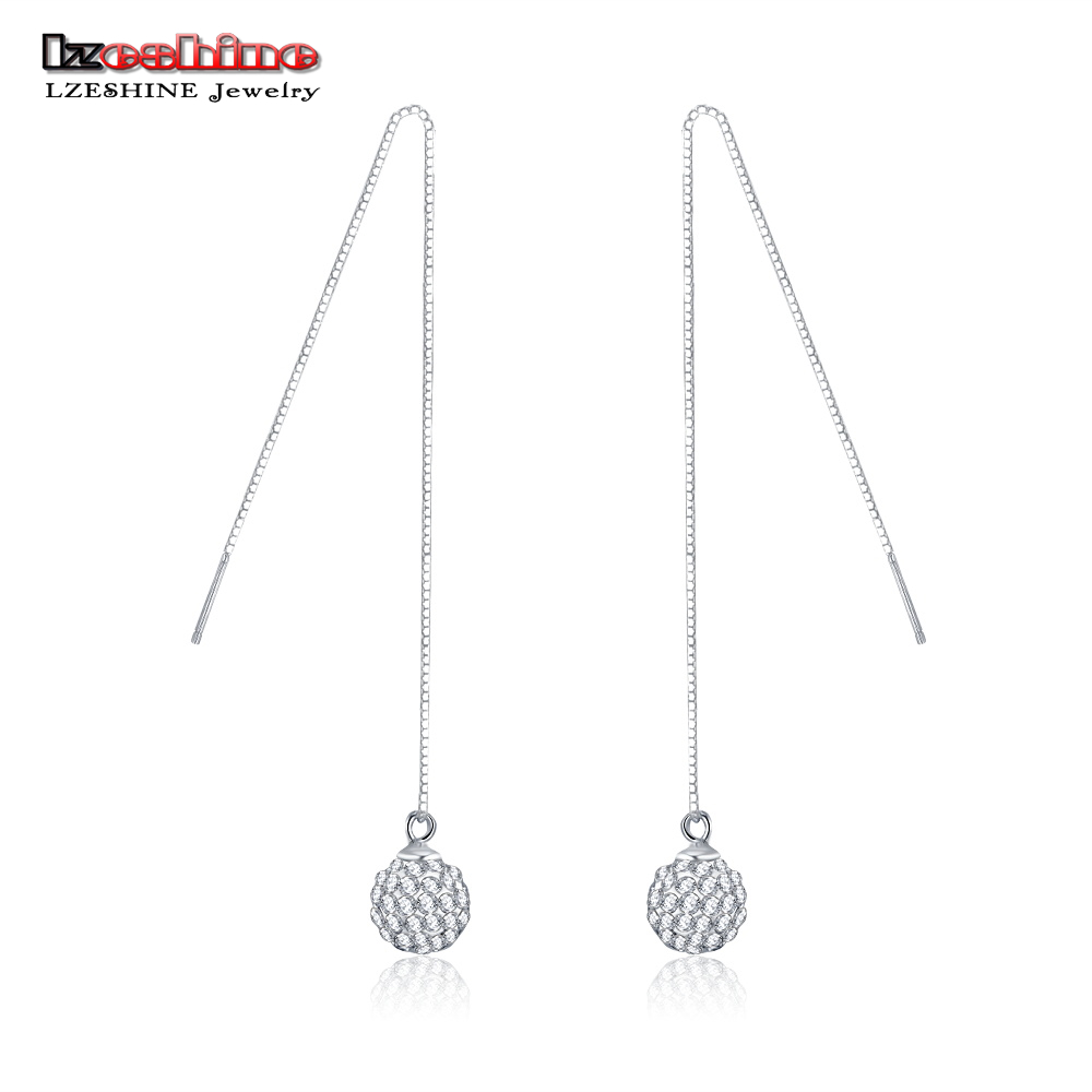 21504020bfa87 US $5.18 40% OFF|LZESHINE Long Drop Crystal Ball Earrings Real 925 Sterling  Silver Birthday Gift Jewelry Accessories Earrings for Women SER0115-in ...