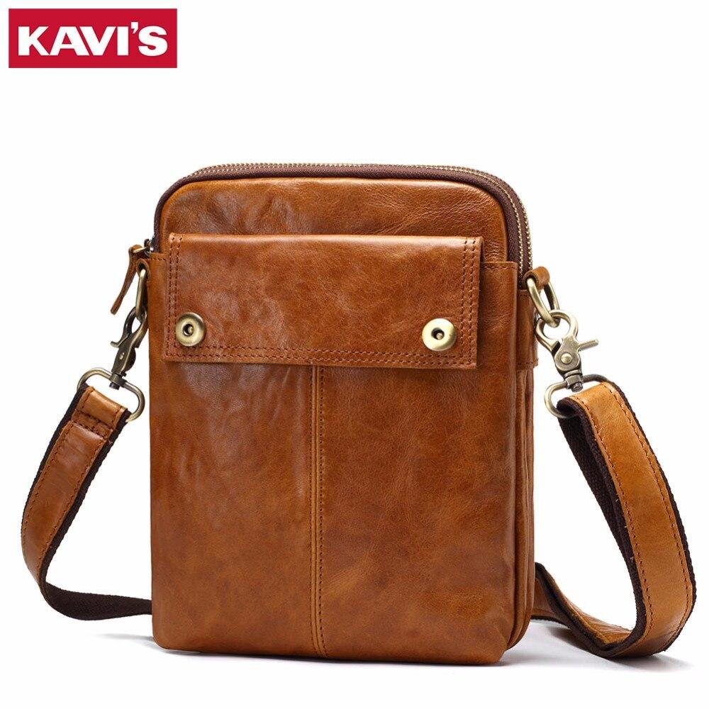 KAVIS Crazy Horse Genuine Leather Messenger Bag Men Vintage Shoulder Crossbody Handbag Bolsas Sling Chest For Male Small Hasp