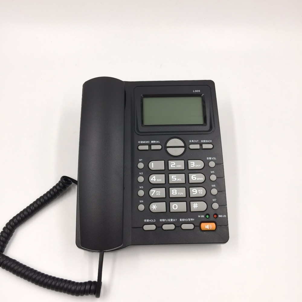 English Language Call ID Redial Landline Phone With DEL Hold For Home Hotel Office Wired Telephone Black