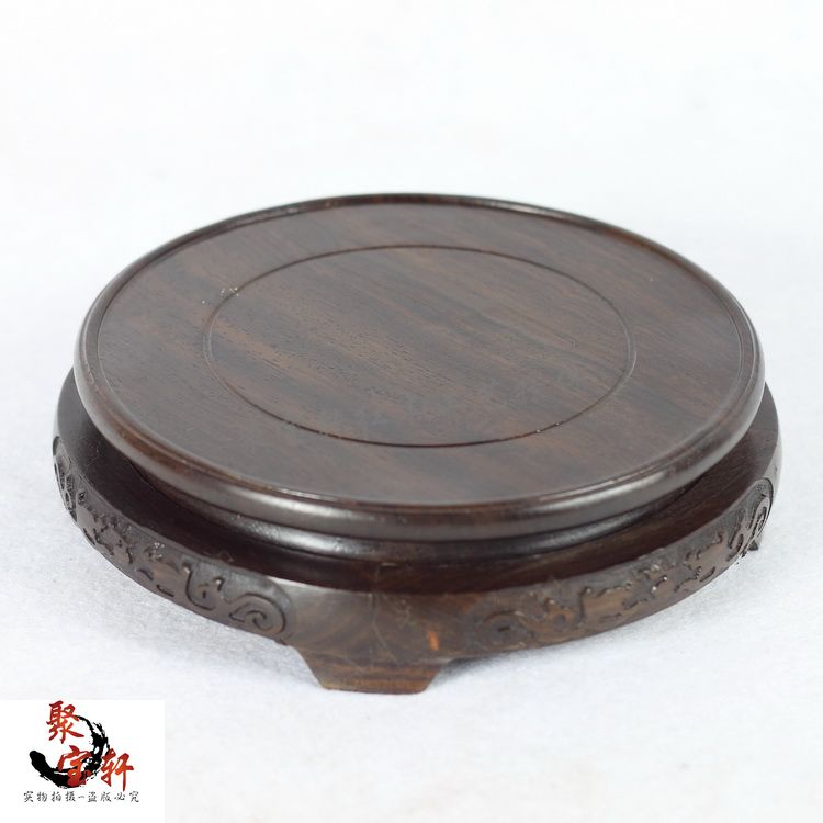 Black catalpa wood annatto handicraft circular base of real wood of Buddha stone are recommended vase act the role ofing household act the role ofing is tasted mahogany wood carving handicraft circular base of buddha stone are recommended