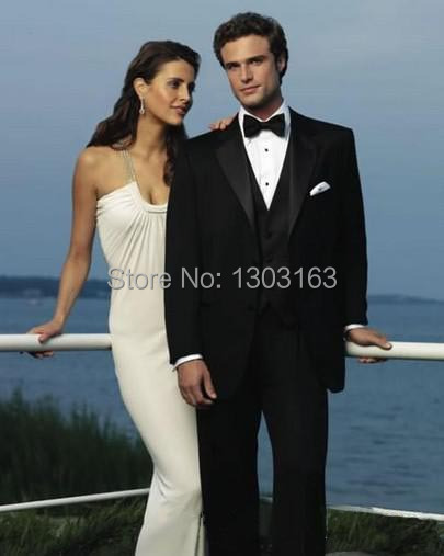 2016Hot black Custom Slim Fit prom Groom Tuxedos Notch Lapel Man Groomsmen Men Wedding Suits PX0087