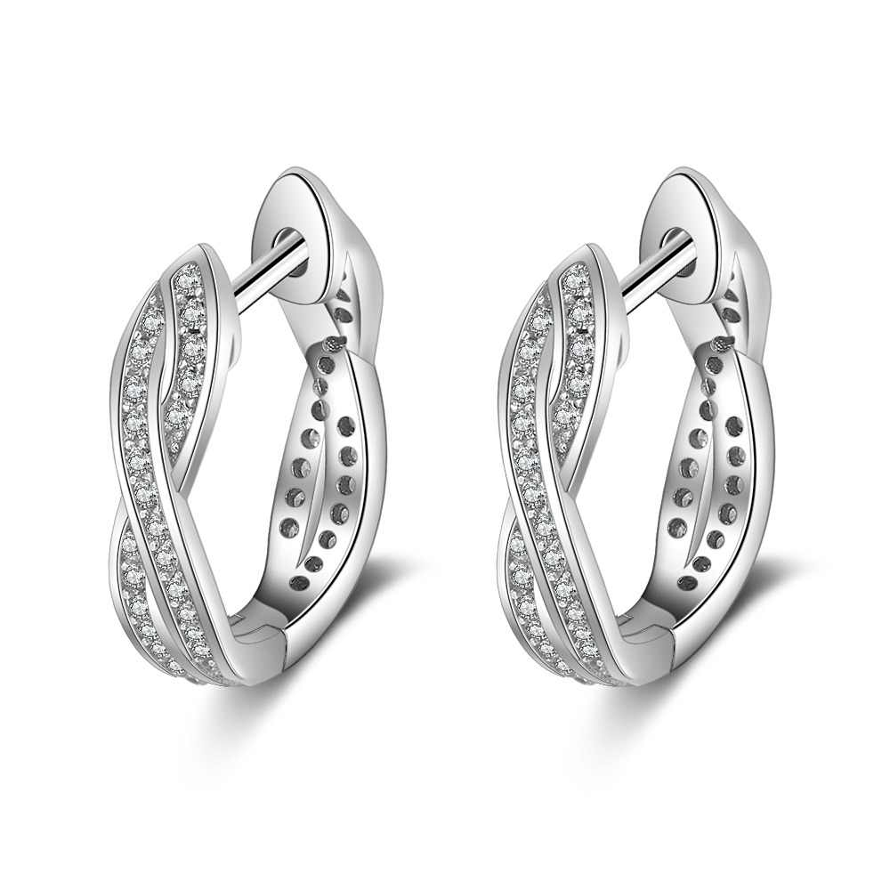Classic Real 925 Sterling Silver Hoop Earrings Cubic Zirconia Twisted Earrings for Women Silver 925 Fine Jewelry (Lam Hub Fong)