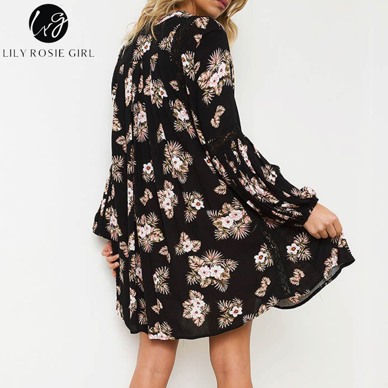 cf4135e56fa97 US $20.99 40% OFF|Lily Rosie Girl Black Floral Print Mini Dress Women V  Neck Boho Autumn Winter Long Sleeve Hollow Out Sexy Short Dresses  Vestidos-in ...