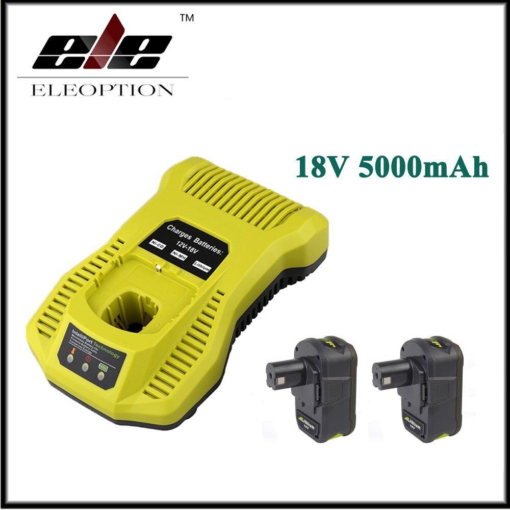2x18 В 5000 мАч литий ионный Перезаряжаемые Батарея для Ryobi P108 RB18L40 P2000 P310 для Ryobi для ONE + BIW180 с 12 18 В Зарядное устройство
