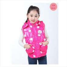 The new 2016 girl coat jacket radiant warm baby feather cotton padded jacket vest girls 3-8 years old