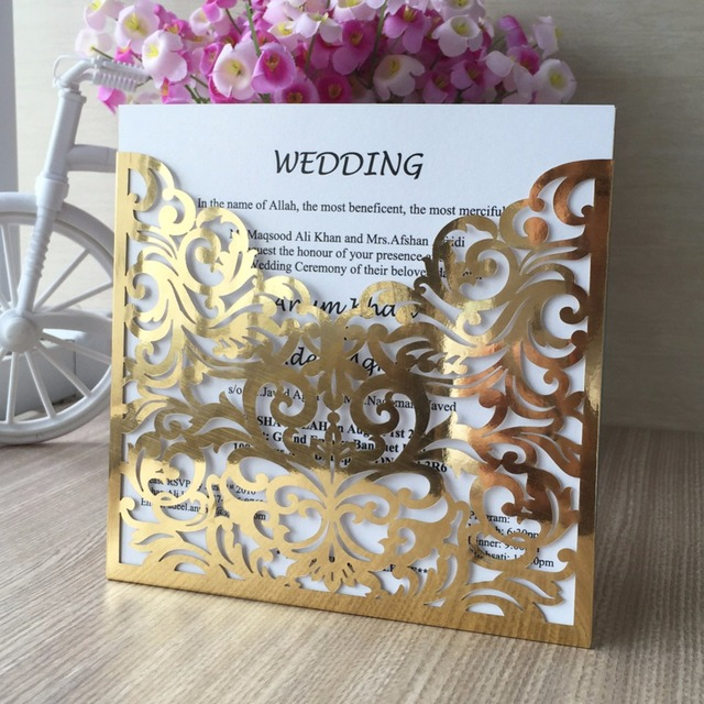 12pcslot laser cut high quality shimmer gold paper metallic paper 12pcslot laser cut high quality shimmer gold paper metallic paper wedding invitation card greeting stopboris Image collections