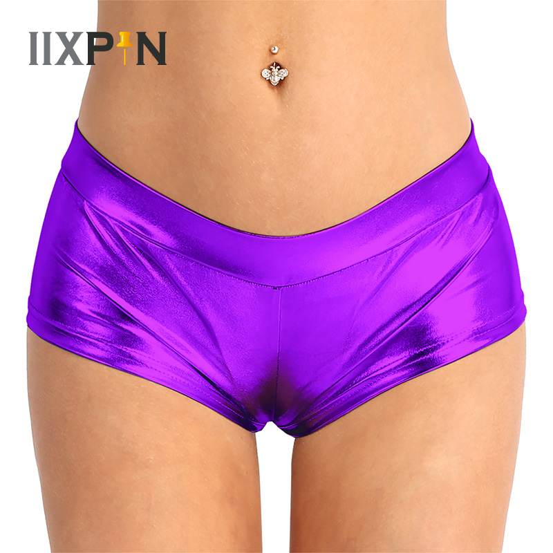 IIXPIN Pole Dance Shorts Sexy Women Metallic Shorts Shiny Bottoms Dancing Costumes Faux Leather Low Waist Hot Shorts Pole Wear