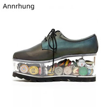 Clear Hollow Thick Bottom Shoes Women Flat Platform Round Toe Cross Tied Casual