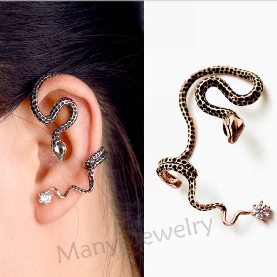 все цены на One piece New Vintage Gold Snake Earring Hot Sale With CZ Earring Fashion Women Jewelry Wholesale Pendientes Mujer Moda For Girl онлайн