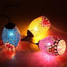 Lámpara colgante Tiffany hecha a mano mosaico marroquí colgante luz creativa vidriera E27 luz Vintage iluminación para bar Cocina