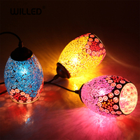 Tiffany Pendent Lamp Handmade Moroccan Mosaic hanging light Creative stained glass E27 light Vintage lighting for bar kitchen