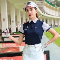 Women Summer Short Sleeves Golf Shirt Patchwork Slimming Tops For Golf Tennis Female Dry Fit Trainning Shirts D0697