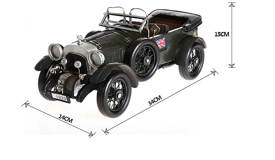 ФОТО 1pcs 13.38inch hand made metal 1929 Vintage car metal model figure toy for deck