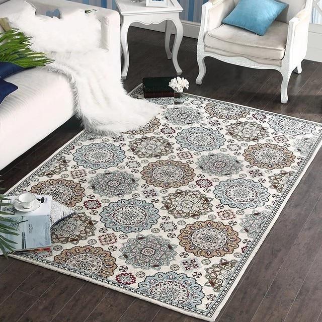 designer teppich wohnzimmer teppich kurzflor muster in grau creme ...