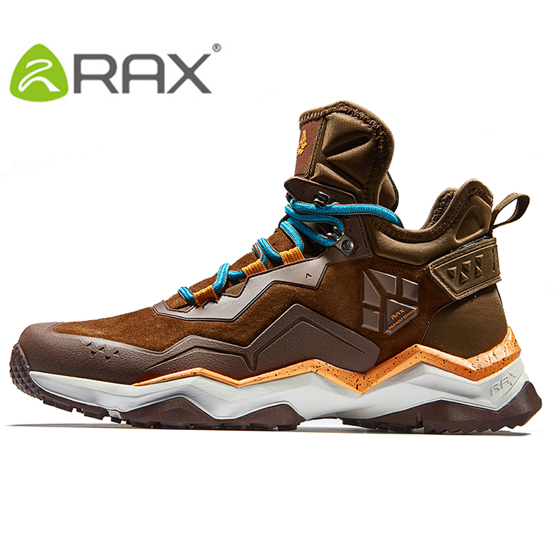 Фото RAX Mens Waterproof Hiking Shoes Mountain Hiking Boots Genuine Leather Men Breathable Waterproof Trekking Shoes Outdoor Man
