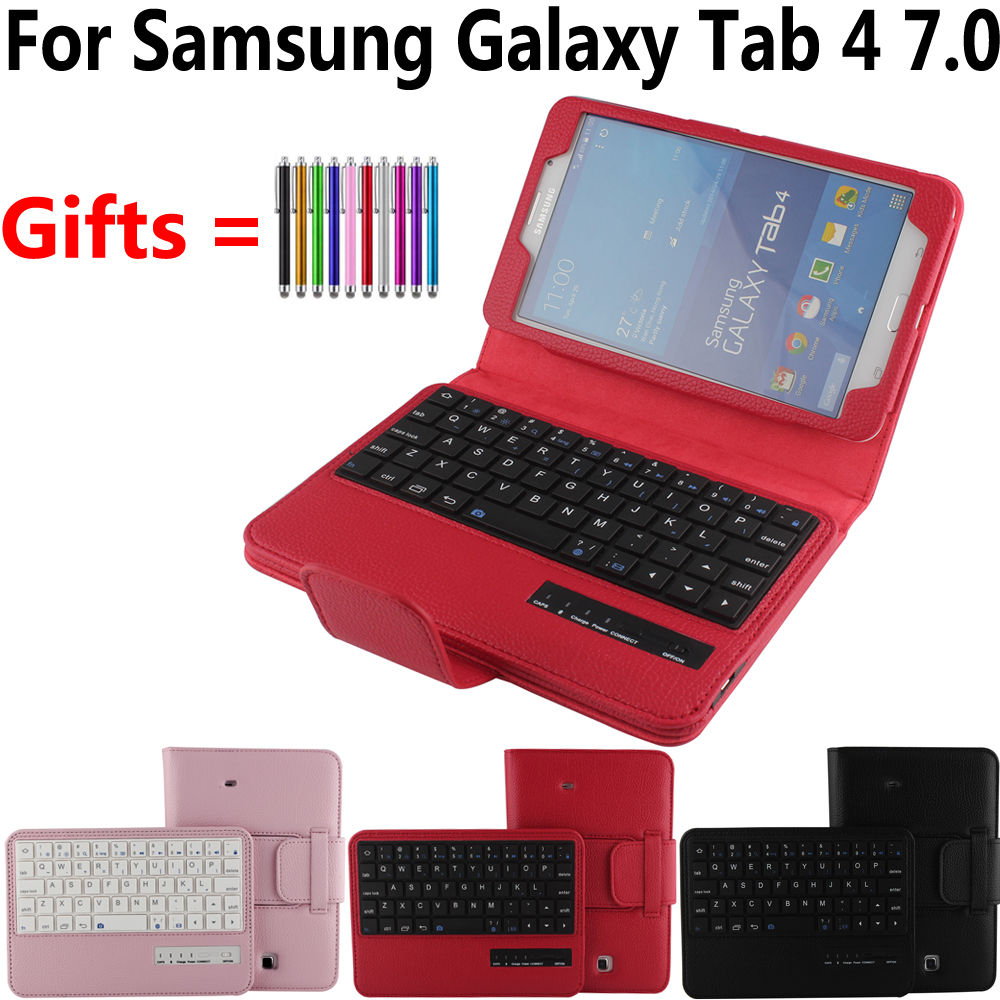 где купить Removable Detach Wireless Bluetooth Keyboard Case Cover for Samsung Galaxy Tab4 Tab 4 7.0 T230 T231 T235 Funda Tablet Skin Shell по лучшей цене