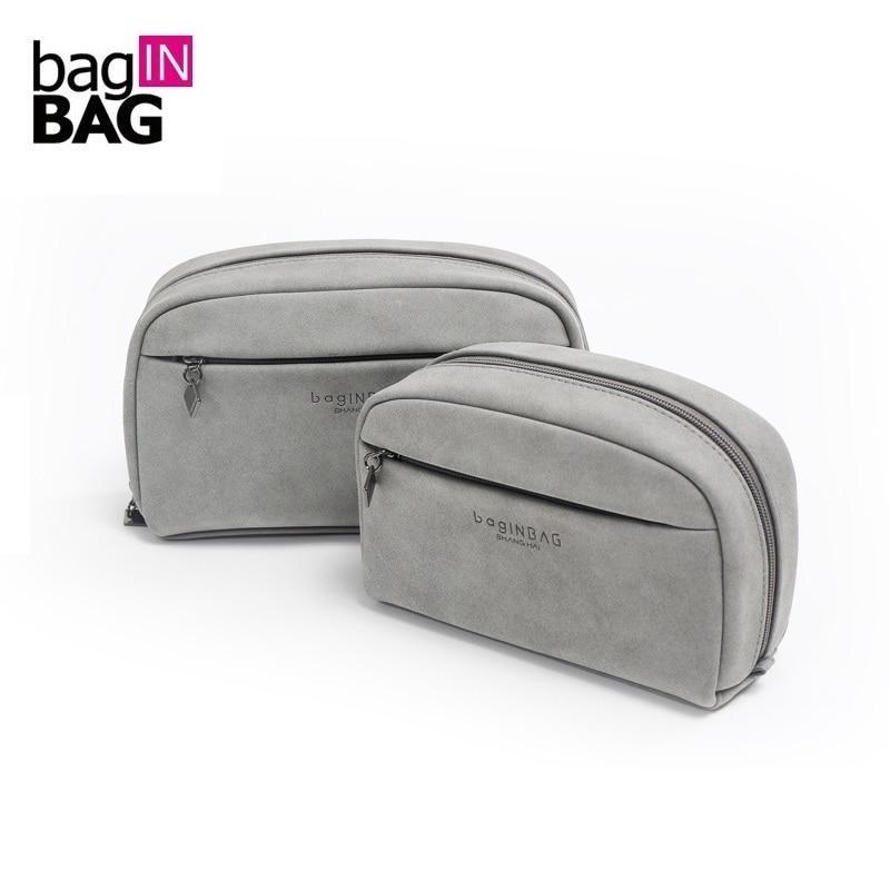 Grey Cosmetic Bag Small Makeup Bags Soft Portable Storage Bag 20 12 5cm And 16 11