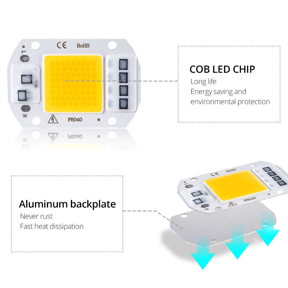 LED Matrix 20W 30W 50W Integrated COB LED Bulb Chip Lamp 110V 220V Diode Lamps Spotlight DIY Flood Light Outdoor Street Lights