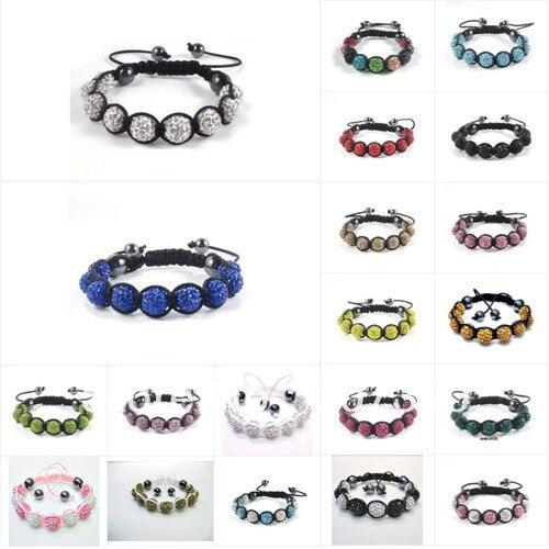 50% discount Hot selling 10 bracelets clay 10 mm x 9 clay rhinestone beads shamballa beads bracelet Free Shipping