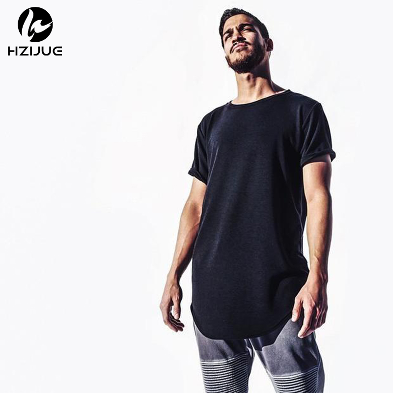 HZIJUE HOT 2017 tiszta póló nagykereskedelmi kiterjesztett hosszú póló férfi hip hop új design utcai férfiak olcsó Eur méretű hip hop pólók