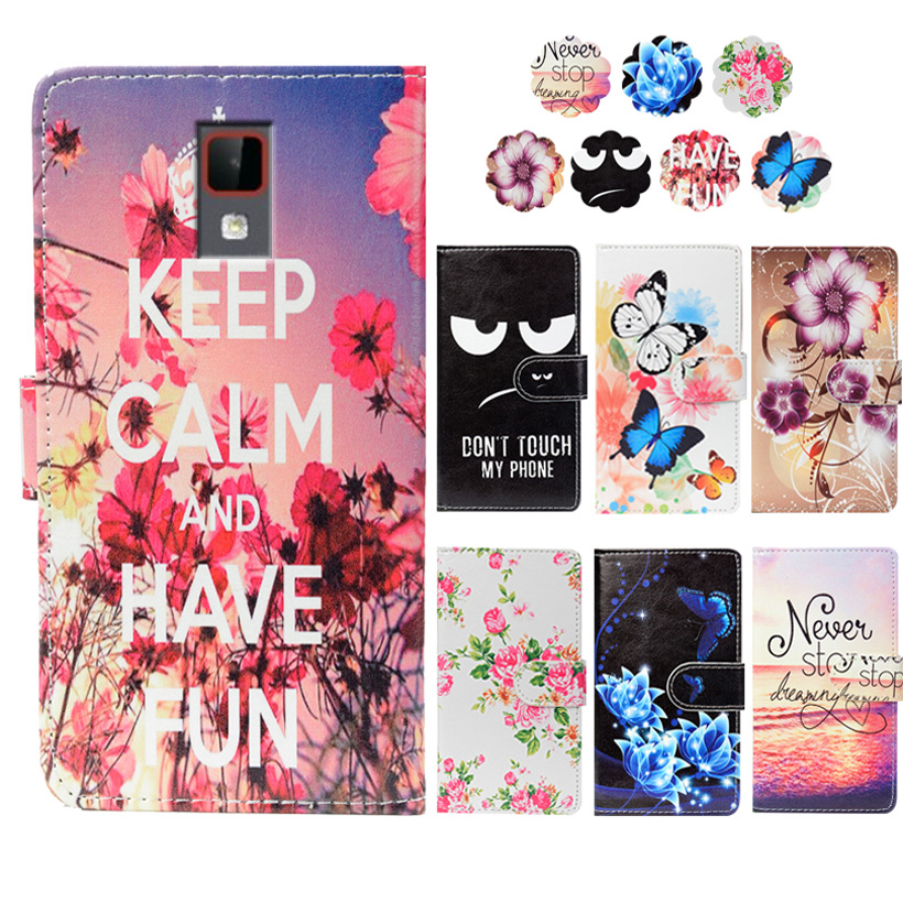Fashion PU Leather Flip Print Wallet Case For Senseit A200 Case Cover Book Case 5.0Ultra-thin Phone Cover For Senseit A200 Case