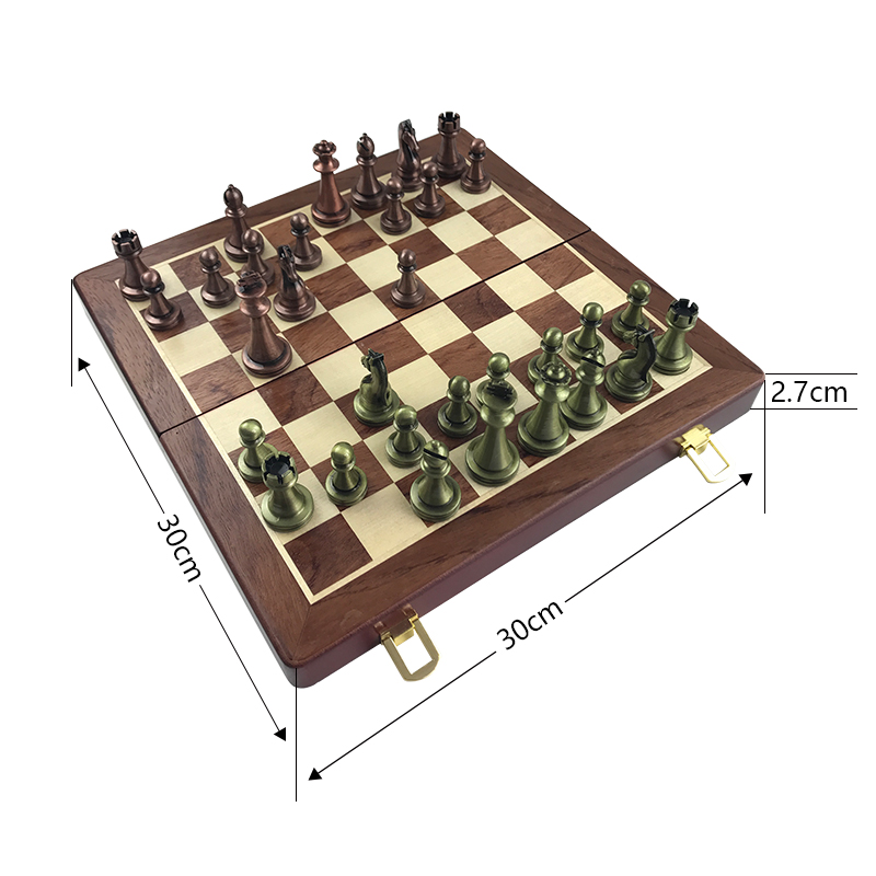 Easytoday International Chess Wooden Games Set Metal Chess Pieces Solid Wood Chess Board Entertainment Table Game Gift 2