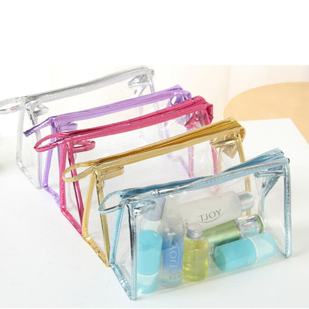 Transparent Waterproof Storage Bag Makeup Cosmetic Bags PVC Pouch Toiletry Wash Bathing Supplies 23.5*15.5*7cm