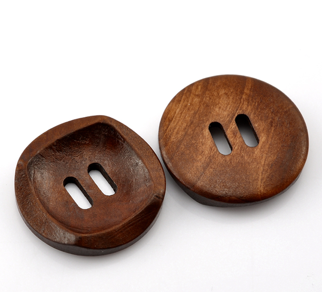 "DoreenBeads 2019 4 PCs Coffee 2 Holes Round Wood Sewing Buttons Eco-friendly Garment Clothes Making Supply 30 mm(1 1/8"") Dia."