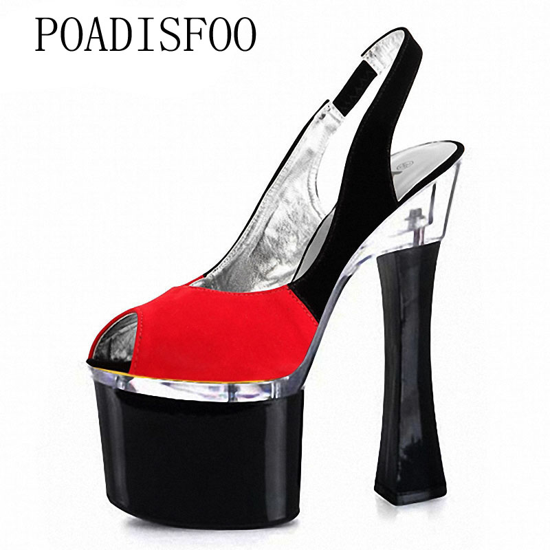 074 Bouche Nouveau Super 2018 q Hauts De Chaussures 7 Lyp Cm Platfrom Printemps Talons Noir Poadisfoo Sandsls 18 Femmes Peu Été Haute Profonde RvqCgg
