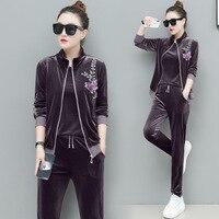Velvet Set Spring Autumn 3 Pieces set Women Tracksuit Fashion Jacket & T shirt & Long Pant Suits 4xl Embroidery Sport Suit