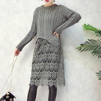 Inverno Nuove Donne di Stile Coreano Pullover Maglione di Colore Solido Girocollo In Maglia di Cotone Pizzo Cuciture Cava Maglione di Modo delle Parti Superiori