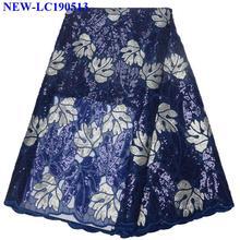 Королевская Синяя Высококачественная африканская Тюлевая кружевная ткань с блестками французская чистая вышитая Тюлевая кружевная ткань для женского платья FXS05