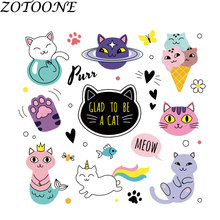 ZOTOONE Diy Patch Cute  Animal Custom Cat Iron on Patches for Clothing Heart Transfers Kids Clothes E