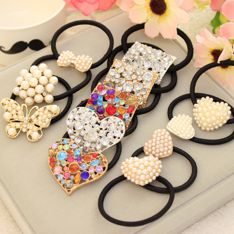 Crystal Imitation Pearl Beads Heart Bow Elastic Hair Band Rubber Hair Clip for Women Girl   Headwear   Hair Accessories