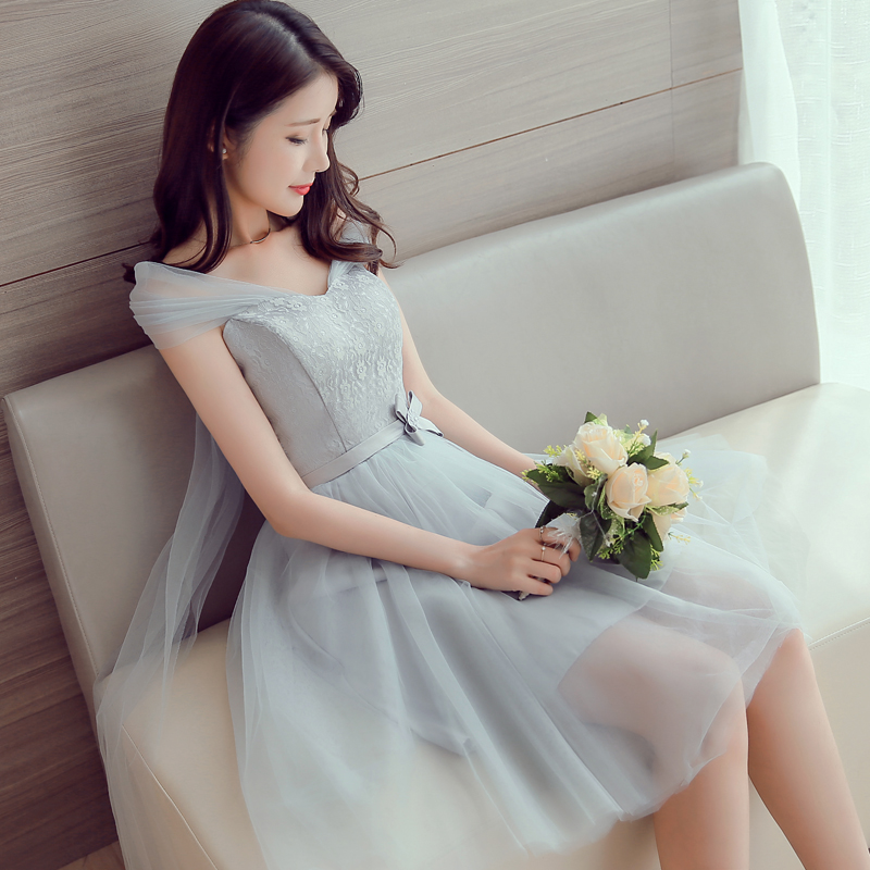 2017 new   Bridesmaid     Dresses   plus size stock cheap under $50 grey silver satin a line short sexy tulle lace romantic JYX875DG