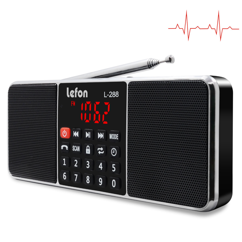 Lefon Digital Radio AM/FM Dual Bluetooth Speakers Handsfree Call 3.5mm AUX Line-in MP3 Player TF/SD Card LED Display Screen