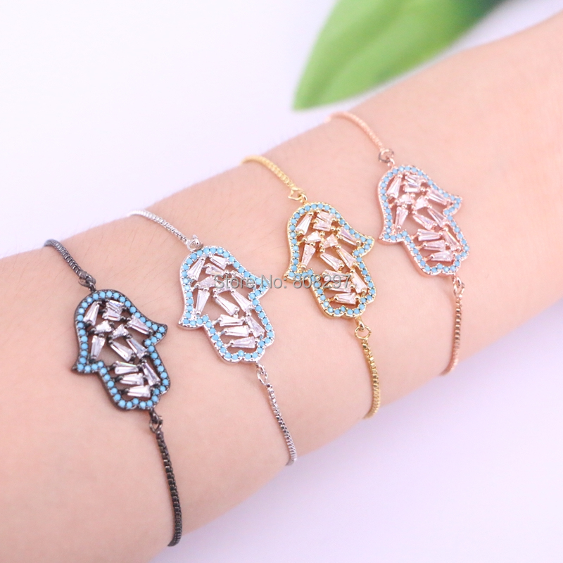 10Pcs Cubic Zirconia Crystal Palm Shape Zircon CZ Adjustable Bracelets for Women Fashion Jewelry