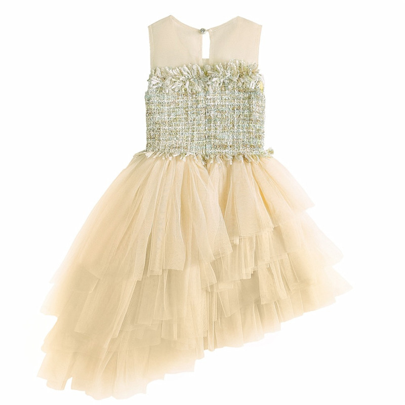 Kids Baby Girls Lace Princess Sundress Champagne Summer Flower Sleeveless Party Irregular Dress for Childrens Birthday Party