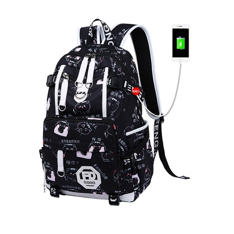 Girl backpack high quality nylon backpacks Campus student laptop school bags Black and white cute backpacks for college girls in Backpacks from Luggage Bags