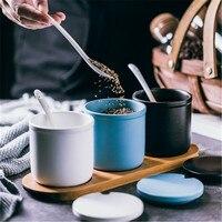 KINGLANG Nordic ceramic seasoning jar three piece suit salt cans household seasoning box kitchen seasoning box