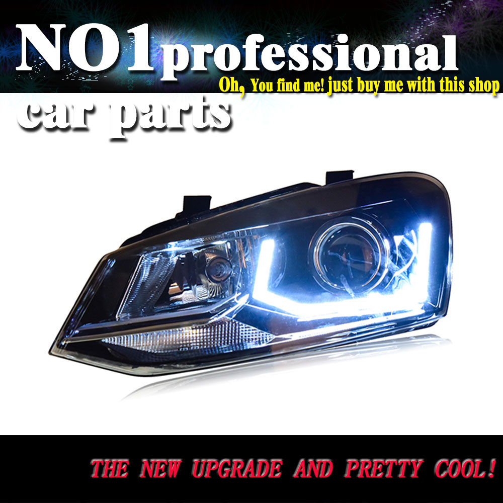 Auto Clud Car Styling For VW POLO headlights 2011-2016 For polo head lamp led DRL front Bi-Xenon Lens Double Beam HID KIT auto clud style led head lamp for benz w163 ml320 ml280 ml350 ml430 led headlights signal led drl hid bi xenon lens low beam